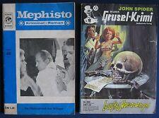 Konvolut Romanhefte  Mephisto Kriminal-Roman + John Spider Grusel-Krimi