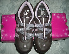 Skechers Girls Chocolate Brown Pink Silver Sparkle Athletic Shoes 4 M
