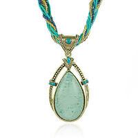 Vintage Jewellery Antique Gold Plated Blue Teardrop Shape Pendant Necklace N46