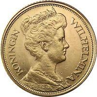 Niederlande 5 Gulden 1912 Königin Wilhelmina Goldmünze prägefrisch in Münzkapsel