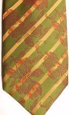 """Sean John Men's Silk Tie 57.5"""" X 4.25"""" Green/Gold British Stripes & Red Floral"""