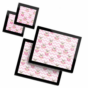 2 Glass placemates & 2 Glass coaster  - Pink Stripe Pug Dog Donut Art  #16820