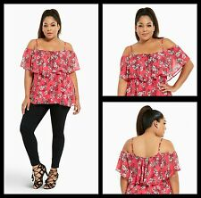 NWT Torrid Plus Size 4X Floral Chiffon Cold Shoulder Black Top Sexy (#5-15)