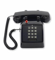 Scitec Single Line Desk Phone with Double-gong Bell Ringer MW Black SCI-25012