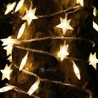 2.5M 20 LED Star Lamp Curtain String Fairy Light Xmas Garden Wedding Party Decor