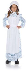 Praire Girl Costume Child 19th Century  2Pc Bl Floral Dress W/ Apron & Bonnet L