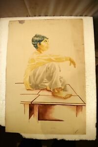 """Vintage Painting Sketch Color Pencil Drawing Hand Drawn Man Sitting On Table"""" 6"""