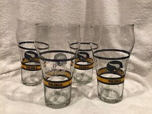 BEAUTIFUL 1980's Set of 4 Minnesota Vikings Coca-Cola 6 Inch Glasses, MINT!