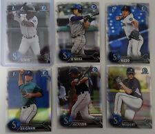 2016 Bowman Chrome Draft Seattle Mariners Team Set 6 Refractor Baseball Cards