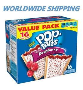 Pop-Tarts Frosted Raspberry Toaster Pastries Value Pack 16 Ct WORLDWIDE SHIPPING