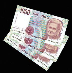 TRIO 3 PCS LOT ITALY BANCA D' ITALIA P-114a 1,000 LIRE 03.10.1990 UNC BANKNOTES