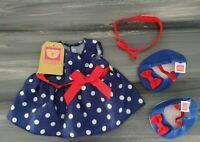 BNWT Design a Bear Chad Valley Polka Dot Dress Shoes Head Band Teddy outfit