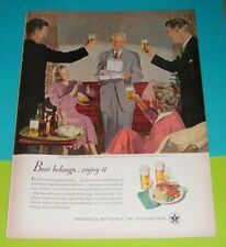 1949 PRINT AD~U.S.BREWERS FOUNDATION Douglas Crockwell Art Beer Ale Dad's B'Day