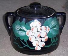 Vintage Black Pottery Cookie Jar with Handpainted Grapes