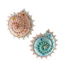 Katherine's Collection Diamond Spiral Shell Christmas Holiday Ornaments Set of 2