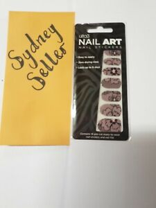 Ulta 3 Nail Art Stickers - Light Pink with Black Patterns - Brand New In Packet