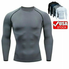 Mens Compression Shirt Long Short Sleeve Base Layers Tights Workout Gym Tops