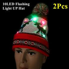 Sombrero de hombre mujer 10-LED Luz Intermitente Beanie Gorro Sombrero de Punto Reno