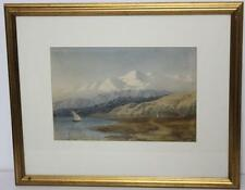 19c Watercolour Lake Scene with Snow Capped Mountains Signed & Dated [PL1623]