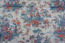 Vintage Floral Oriental Print Cotton Fabric remnant
