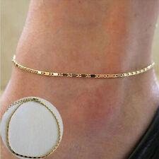 Minimal-Art Schmuck Gold beschichtet Kette Armband Barfuß  Fußkettchen am Strand