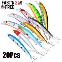 20Pcs Fishing Lures Crankbaits Hook Minnow Baits Tackle Crank Fishing Kit 3D-Eye