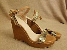 Stuart Weitzman Women Shoes Platform Gold Roman Pumps Sandals Wedges Size 40