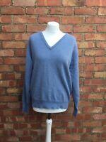 """Johnstons Of Elgin 100% Cashmere Blue V Neck Jumper Pullover Size L Large 46"""""""