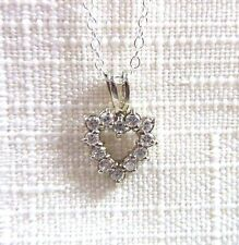 0.86ct White Cubic Zirconia 925 Sterling Silver Heart Pendant & Chain
