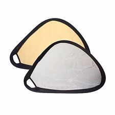 """2in1 24"""" Gold/Silver Triangular Collapsible Disc Photo Studio Reflector w/ Grip"""