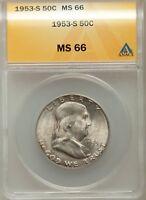 1953-S 50C Franklin Silver Half Dollar GEM ANACS MS66 #6093149 GREAT SURFACES!!