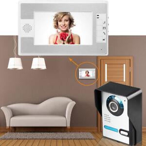 "7"" Color Video Door Phone Doorbell Camera Intercom Security System + 1 Monitor"