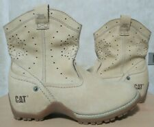 HKD1,399 CATERPILLAR womens leather cowboy style ankle boots in Beige sz8W BNWOB