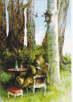 Teddy brown bear drinking wine in forest Cuckoo-clock Russian modern postcard