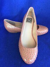 ITALY POUR LA VICTOIRE Apricot Patent Gold Studded Ballet Flats Shoes Sz 8M NEW!