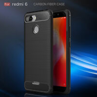 For Xiaomi Redmi 6 Case Carbon Fibre Cover & Glass Screen Protector