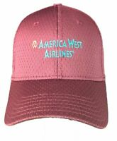 America West Airlines Maroon Embroidered Logo Adjustable Mesh Baseball Cap Hat