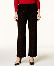 b97d0aaa2cb Alfani Womens Black Glitter Pull on Comfort Waist Wide Leg Pants L BHFO 1697