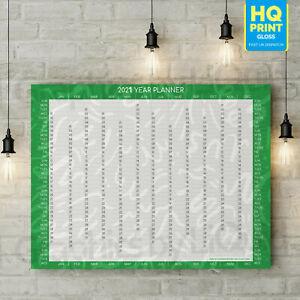 2021 Annual Wall Chart Calendar Year Planner In Green   A5 A4 A3 A2 A1 A0  