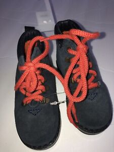 BABY GAP Navy Blue Suede Orange Laces High Top Hiking Boots shoes Size 6 NWT NEW