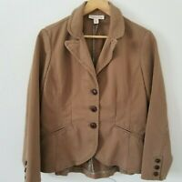 Coldwater Creek Brown Tailored Cropped Riding Jacket Size Petite 8