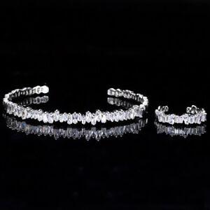 CWWZircons Rose Gold Baguette Cubic Zirconia Cuff Bracelet Bangle Ring Sets