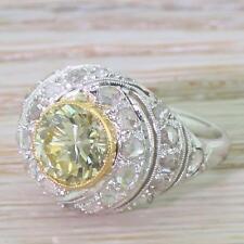RETRO 1.66ct FANCY GREENISH YELLOW DIAMOND BOMBE RING - Platinum - c 1945