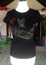 Trachten Shirt, München, Gr L, Zur Lederhose, Jeans, schwarz, Strass rotes Herz