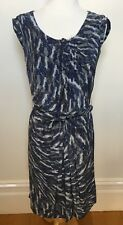 GERARD DAREL Paris Blue Grey Cap Sleeve 100% Silk Drape Front Belted Dress 38 10