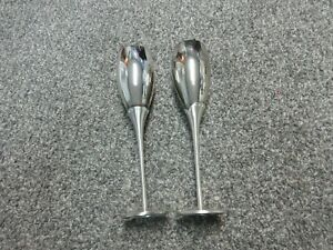 Pair of Silver Wedding Toasting Flute Glasses With Crystal Rhinestone Accents
