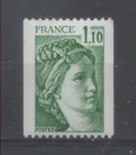 FRANCE TIMBRE ROULETTE 2062a N° rouge au verso SABINE vert - LUXE **