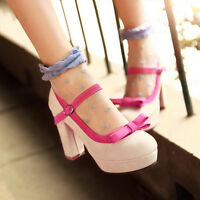 Women's Mary Jane Pumps Block High Heels Platform Buckle Bowknot Lolita Shoes