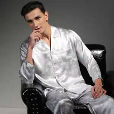 Men's 100% Mulberry Silk Pajamas Set Long Sleeves Silk Sleepwear S M L