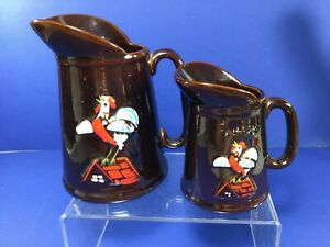 Vintage Redware Brown Rooster Pottery, Syrup & Butter Pitchers
